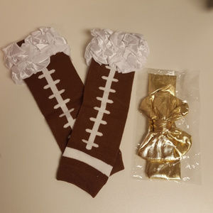 Other - Football Leg Warmers and Gold Bow Headband